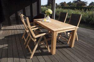 Exotan Caldo Tuinset 5-delig verstelbare stoel | 160cm Stella tafel - zwart