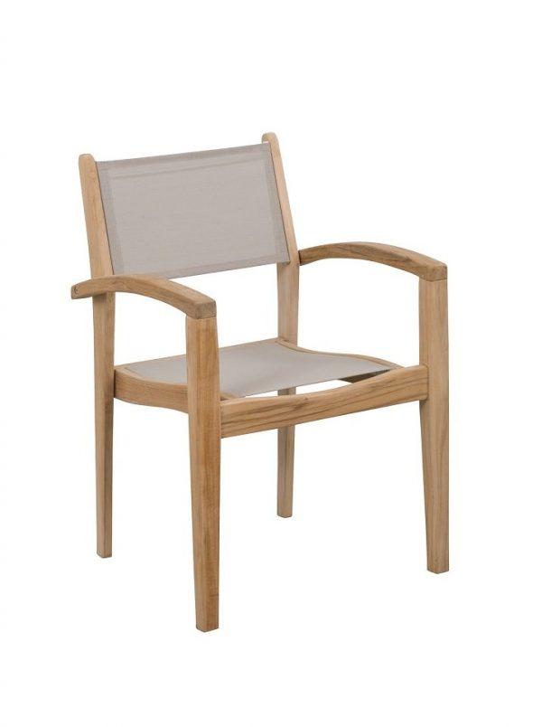 Exotan Caldo teak stapelstoel taupe 4 stoelen voordeelpakket