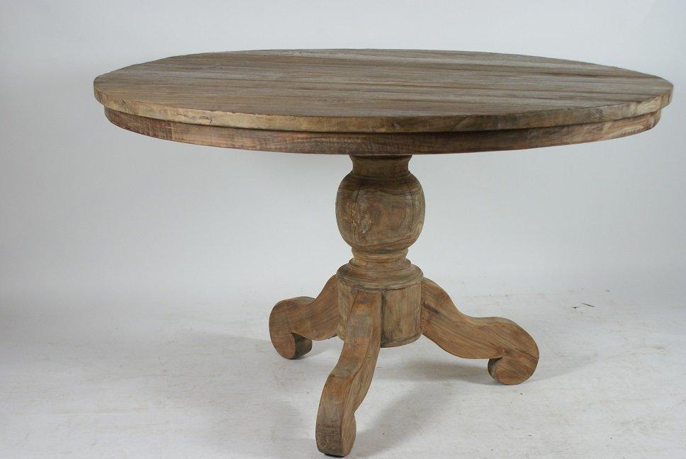 Ronde teakhout tafel ronde teakhouten tafel cm met metalen poot