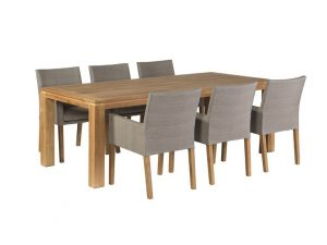 Exotan tuinset 6 York stoel taupe met Stella tafel 240 cm