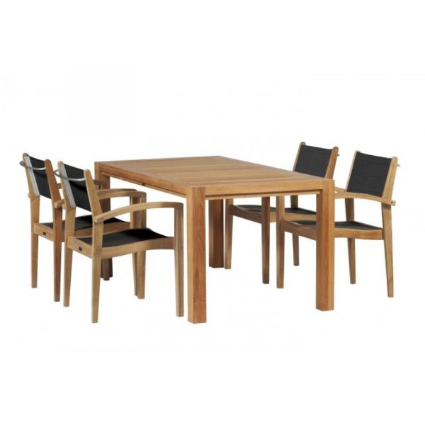 Exotan Caldo teak stapelstoel black 4 stoelen voordeelpakket