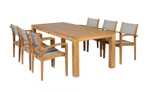 Exotan Caldo Tuinset 7-delig 240cm   stapelstoel taupe