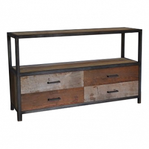 Industrial metal teak rack 4 drawers low