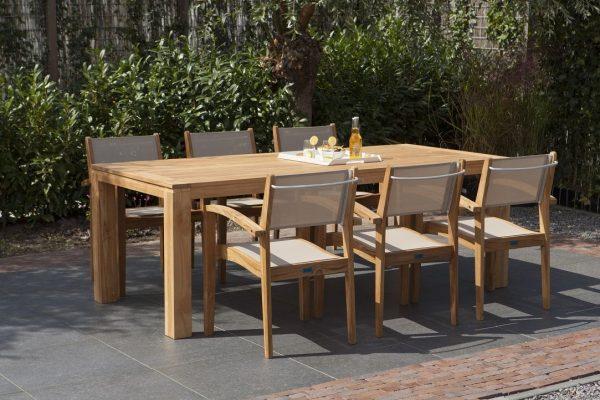Exotan teak tuinset Caldo stapelstoel taupe Stella tafel 240 cm