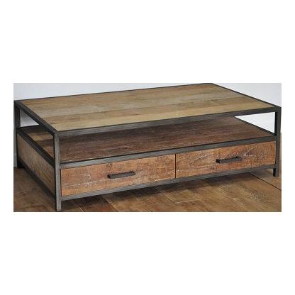 Industrial metal teak salontafel 130 cm