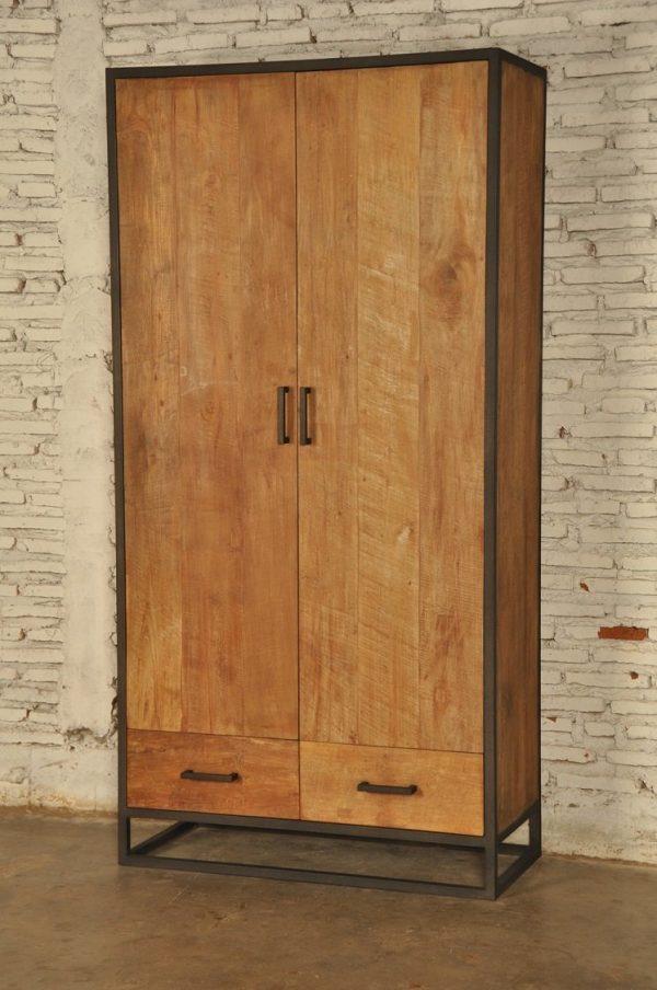 Industrial metal teak 2 deurs kast 2 laden
