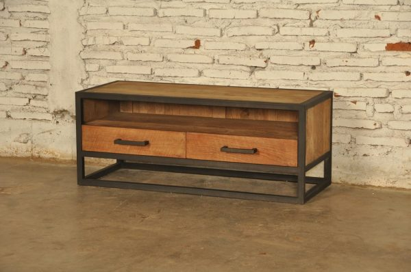 Industrial metal teak tv meubel small 100 cm