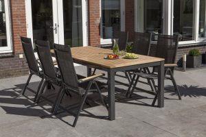 Exotan Memphis tuinset 6 standenstoelen met tafel 220 cm