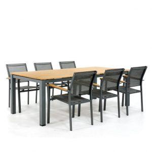 Exotan Memphis tuinset 6 stapelstoelen met tafel 220 cm