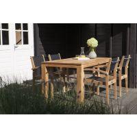 Exotan Teak tuinset 5 delig Stella tafel 160 cm Caldo stapelstoel zwart