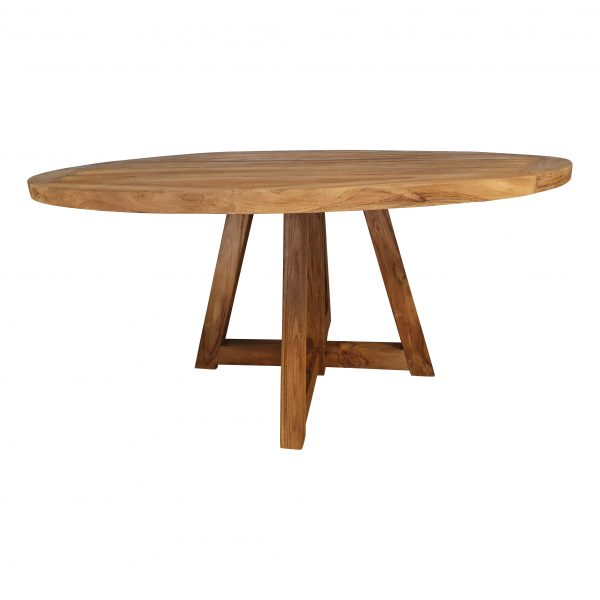 Ronde Tuintafel Teak 160cm houten poten
