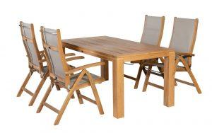 Caldo Tuinset 5-delig verstelbare stoel | 160cm Stella tafel – taupe