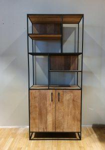 Banjar Boekenkast Metal Teak 90cm 2 doors