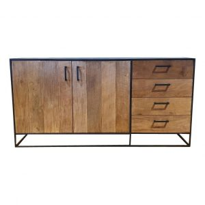 Metal teak dressoir Banjar 180 cm 4 laden