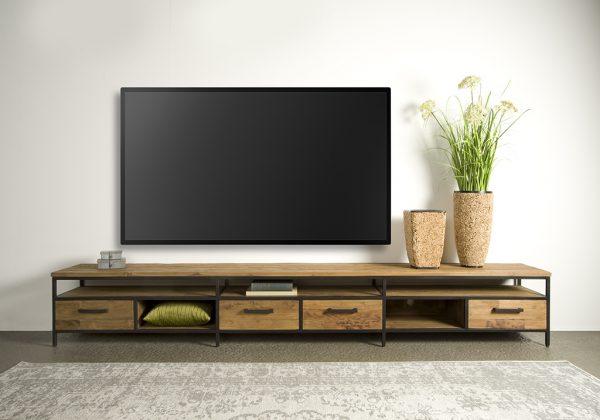 Livorno Teak tv meubel 4 lades 300cm